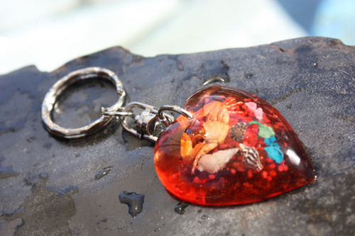 Heart Keychain w/ Inlay Sea Life - Orange