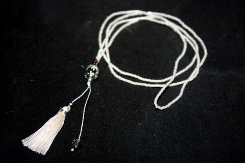 White Seed Beads Silver Buddha Head Tassel Layering Necklace Fashion Charm Jewelry | #cik3607g
