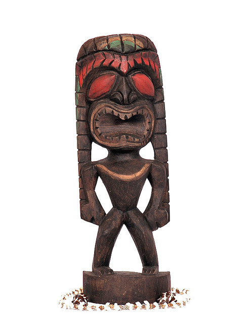 "Lucky Tiki 12"" - Hand Carved - Hawaiian Tiki Decor"