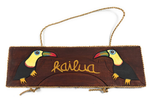 "Kailua Wall Hanging Sign 16"" - Parrot Tropical Decor 