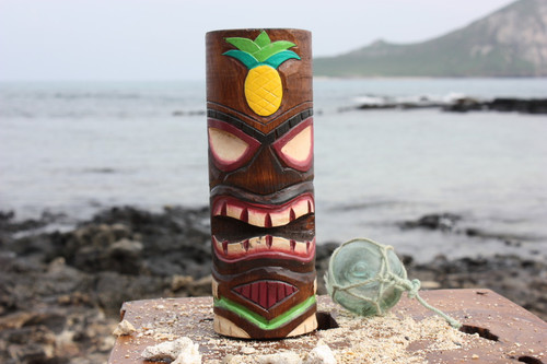 "Tiki Totem 8"" w/ Pineapple - Hand Carved & Painted"