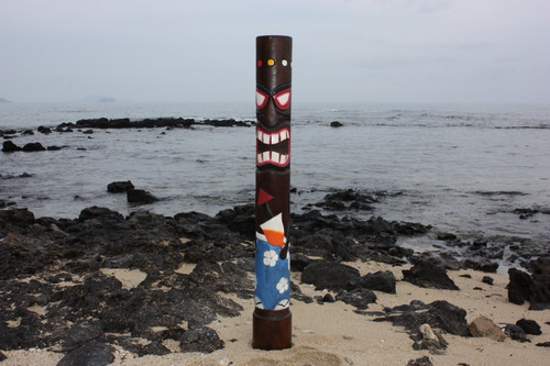 """Da Hula Man"" Tiki Totem 63"" - Hand Painted & Carved - Tropical Decor"