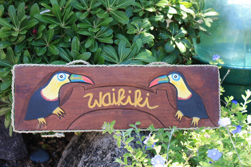 "PARROT ""WAIKIKI"" SIGN - 20"" NAUTICA PIRATE"