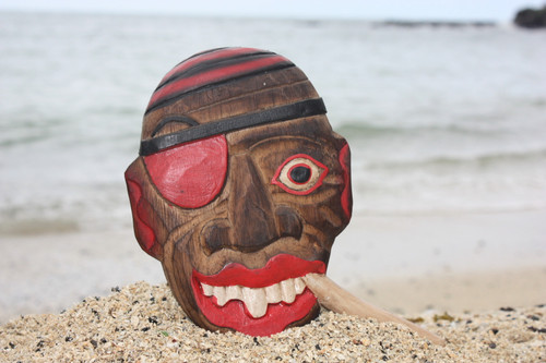 """ALL GOOD!"" PIRATE HEAD W/ CIGAR WALL PLAQUE 8"" - PIRATE DECOR"