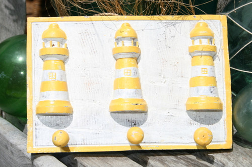 """LIGHTHOUSE"" HANGER - RUSTIC YELLOW NAUTICAL 12"" - NAUTICAL DECOR"