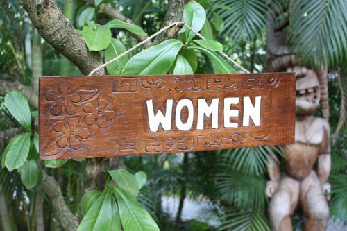 """WOMEN"" BATHROOM TIKI SIGN 24"" - TIKI RESTAURANT"
