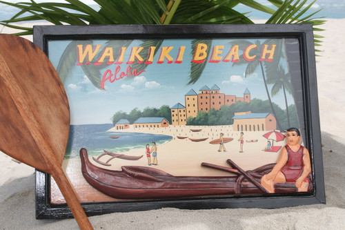 "VINTAGE SIGN ""WAIKIKI BEACH"" CANOE - 24"" X 16"" HAWAIIAN SURF DECOR"