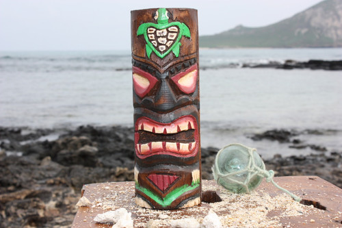 "Tiki Totem 8"" w/ Honu Hawaii - Hand Carved & Painted"