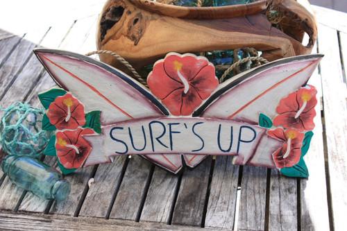 """Surf's Up"" Wooden Sign 16"" - Surf Decor   #dpt533340"