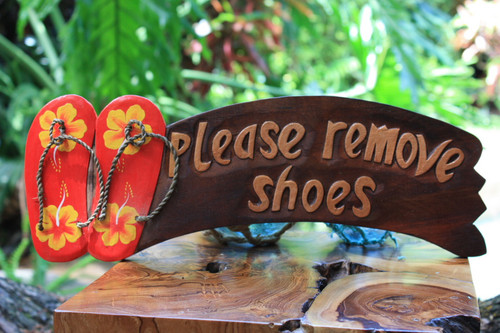 """Please Remove Shoes"" Door Sign 16 inch - Yellow Hibiscus"