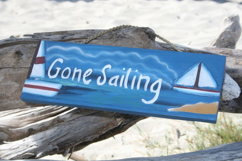 """GONE SAILING"" NAUTICAL SIGN 14"" - COASTAL DECOR"