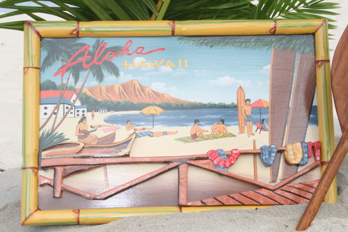 "VINTAGE SIGN ""ALOHA, HAWAII"" DIAMOND HEAD - 24"" X 16"""