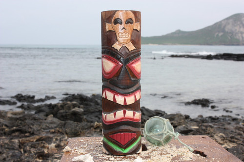 "Tiki Totem 8"" w/ Cross Bone - Hand Carved & Painted"