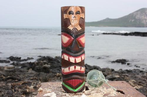 "Tiki Totem 8"" w/ Cross Bone - Hand Carved & Painted"