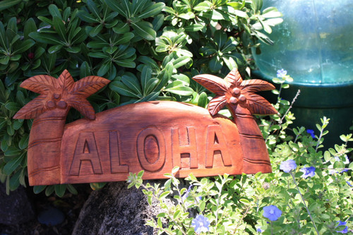 "WELCOME SIGN ""ALOHA"" W/ PALM TREES - ISLAND HOME DECOR"