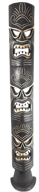 "Triple Headed Tiki Mask w/ Stand 60"" - Love, Health & Prosperity 