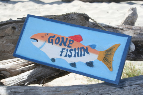 """GONE FISHIN' "" NAUTICAL SIGN 14"" - LAKE HOUSE DECOR"