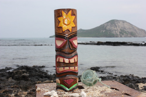 "Tiki Totem 10"" w/ Sunny Hawaii - Hand Carved & Painted"