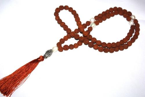 Rudrashka Beads Buddha Silver Tone Tassel Necklace Jewelry | #cik3608o
