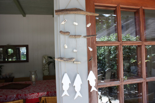 Hanging/Mobile Driftwood w/ Shells & White Fish - Coastal Living