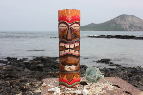 "Tiki Totem 10"" w/ Lava Hawaii - Hand Carved & Painted"