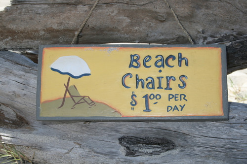 """BEACH CHAIRS, $1 Per Day"" BEACH SIGN 14"" - BEACH DECOR"
