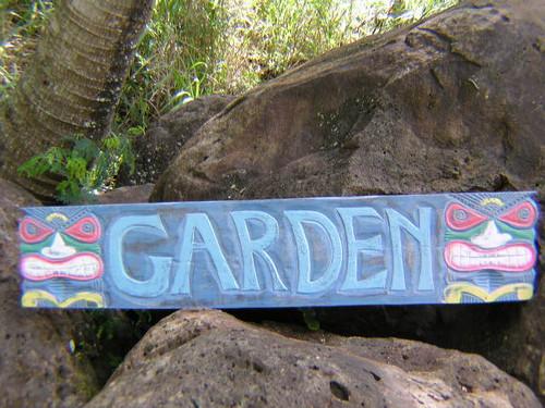 """RUSTIC HAWAII """"GARDEN"""" TIKI BAR SIGN - 39"""" - ISLAND DECOR"""