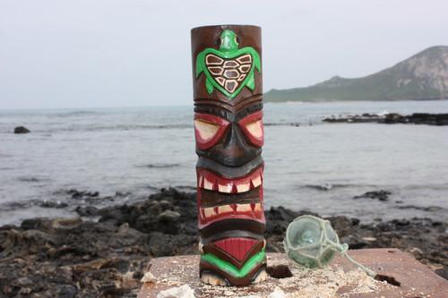 "Tiki Totem 10"" w/ Honu Hawaii - Hand Carved & Painted"