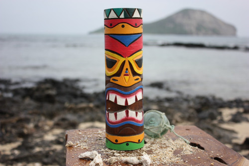 "Tiki Totem 10"" w/ Tribal Hawaii - Hand Carved & Painted"