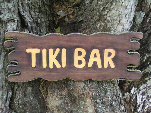 """TIKI BAR"" SIGN DRIFT WOOD 20"" - ISLAND HOME DECOR"