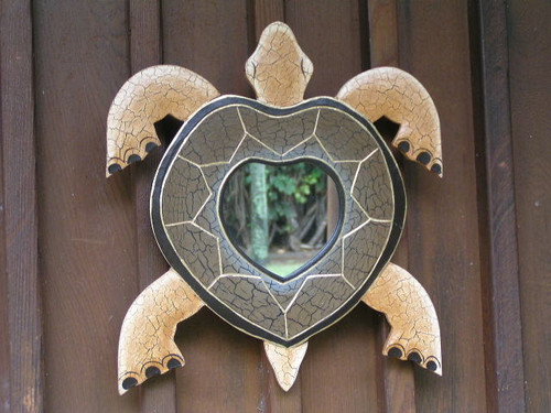 "TURTLE MIRROR DESIGNER - HONU 16""X15"" - BATH DECOR 2"