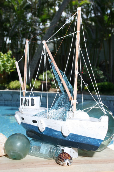 """FISHING BOAT"" BLUE COASTAL 20"" - HAND CARVED - COASTAL DECOR"