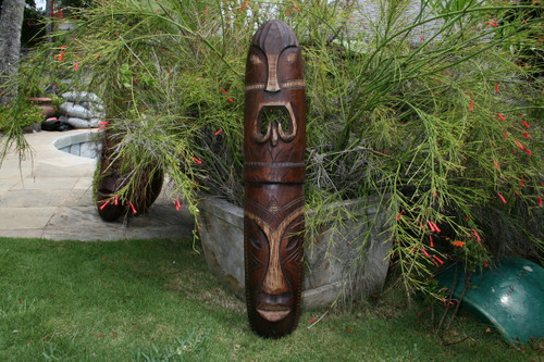 "FIJIAN TIKI MASK - 40"" HEALTH & STRENGTH - POLYNESIAN ART"