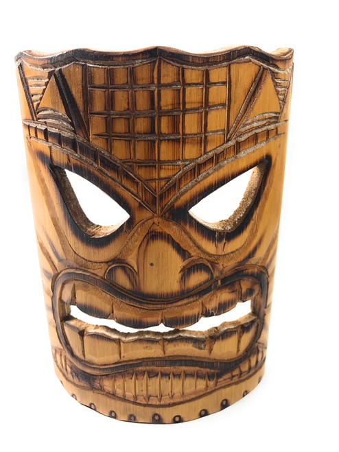 Happy Bamboo Tiki Mask 8"