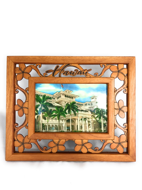 "Photo Frame w/ Laser Cut Plumeria Flowers 4""X6"" Picture 