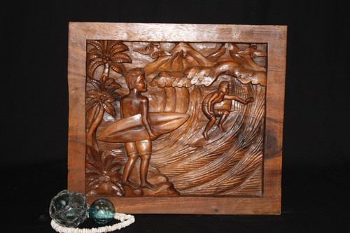 """SURF SCENE, WAIMEA"" WOODEN RELIEF 20"" - SURF DECOR"