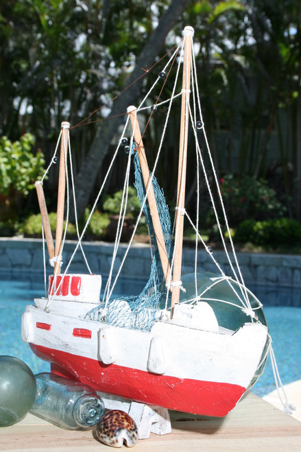 """FISHING BOAT"" RED COASTAL 20"" - HAND CARVED - COASTAL DECOR"