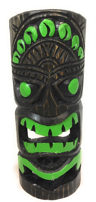 "Jungle Green Tiki Mask 12"" - Carved/Painted 