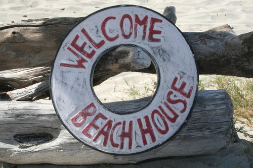 """WELCOME, BEACH HOUSE"" NAUTICAL SIGN 16"" - BEACH DECOR"