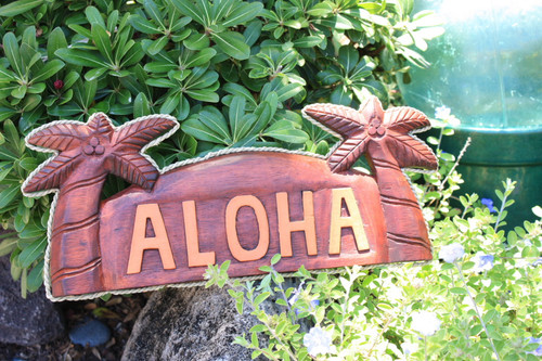 "WELCOME SIGN ""ALOHA"" W/ PALM TREES & ROPE - NAUTICA"