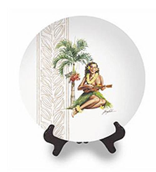 UKULELE HAWAII - COLLECTOR HULA PIN UP GIRL CERAMIC PLATE #3
