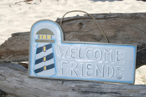 """WELCOME FRIENDS"" LIGHTHOUSE SIGN 14"" - NAUTICAL LIGHTHOUSE DECOR"