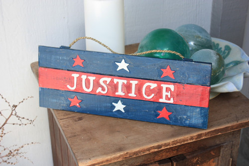 "Americana Sign ""Justice"" on Planks 16"""