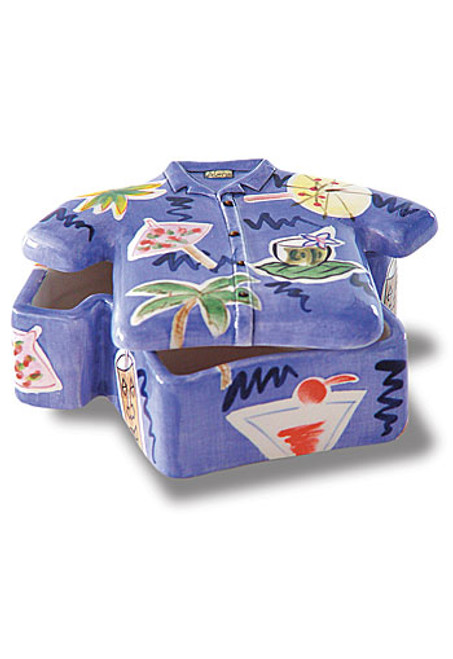 Aloha Shirt Ceramic Purple Keepsake box - Wedding Gifts