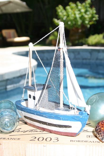 """FISHING BOAT"" BLUE COASTAL 10"" - HAND CARVED - COASTAL DECOR"