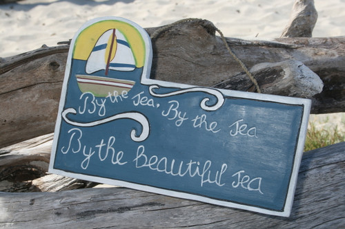 """BY THE SEA, BY THE SEA..."" SAIL BOAT SIGN 14"" - NAUTICAL LIGHTHOUSE DECOR"