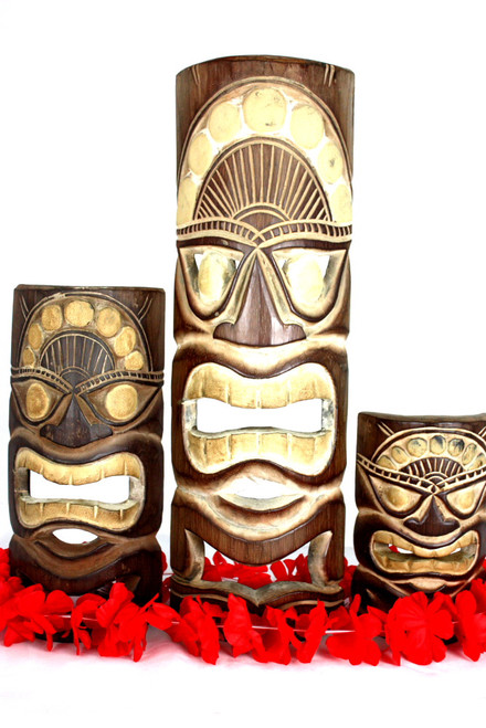 "Set of 3 Tiki Masks Love, Happy, Money 20"", 12"", 8"" 