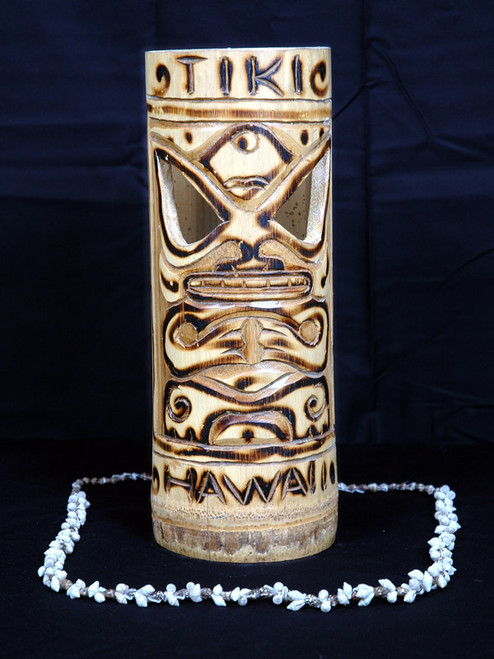 "TIGER BAMBOO ""TIKI HAWAII"" VASE 12"" - TROPICAL DECOR"