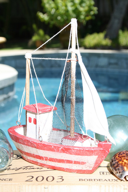 """FISHING BOAT"" RED COASTAL 10"" - HAND CARVED - COASTAL DECOR"