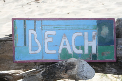 """BEACH"" WEATHERED NAUTICAL SIGN 14"" - BEACH COTTAGE DECOR"